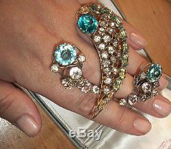Vintage Sterling Vogue jewelry rhinestone brooch comet glass pin & clip earrings