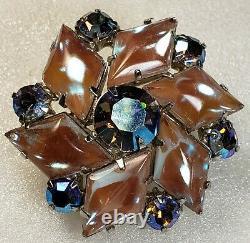 Vintage Stunning Rare Glass SAPHIRET Cabochon AB Rhinestone Brooch