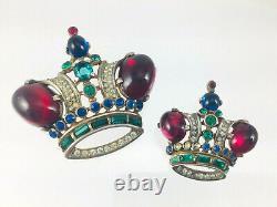 Vintage TRIFARI A. Philippe Sterling Silver Rhinestone Royal Crown Brooch Set