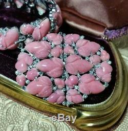 Vintage TRIFARI Alfred Philippe Pink Fruit Salad Duette Brooch & Bracelet Set