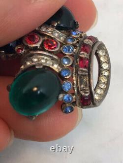Vintage TRIFARI Alfred Philippe Sterling Silver Rhinestone Crown Pin Brooch