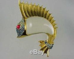 Vintage TRIFARI JELLY BELLY SAIL FISH with Rhinestones Brooch Pin