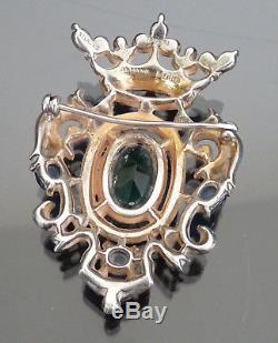 Vintage TRIFARI Sterling Shield Brooch Heraldic Rhinestone Crest Pin