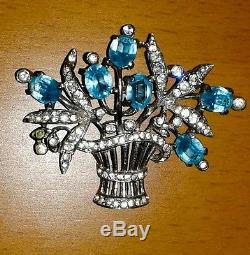 Vintage TRIFARI Sterling Silver Blue Rhinestone FLORAL SPRAY Basquet Brooch Pin