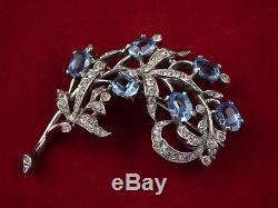 Vintage TRIFARI Sterling Silver Blue Rhinestone FLORAL SPRAY Brooch Pin Philippe
