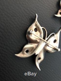 Vintage TRIFARI Sterling Silver Butterfly 4 PIN BROOCH 1 Earring ALFRED PHILLIPE