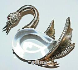 Vintage TRIFARI Sterling Swan Jelly Belly Brooch, Figural, Rhinestones
