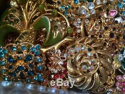 Vintage To Now Mostly Rhinestone Brooch Lot 1 1/2 Lbs- 61 Items