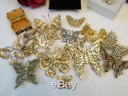 Vintage & Today Large Lot 17 Butterfly Brooch Pin Rhinestone Enamel Trinket Box