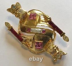 Vintage Trifari 1996 Signed Pink & Red Rhinestone Figural Kings Brooch