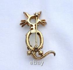 Vintage Trifari Alfred Philippe Jelly Belly Cat Brooch