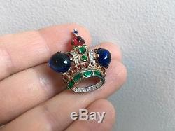 Vintage Trifari Alfred Philippe Sterling Silver Brooch Pin Jelly Belly Crown