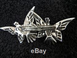 Vintage Trifari Clip-Mate Art Deco Pave Rhinestone Birds Brooch Pin Clipmate