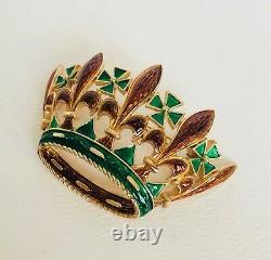 Vintage Trifari Coronation Crown Large Brown&Green L'Orient Enamel Pin Brooch