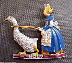 Vintage Trifari Enamel Rhinestone Figural Brooch Pin 1940 RARE Girl Goose Bird