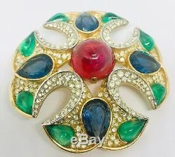 Vintage Trifari JEWELS Of INDIA Brooch Rhinestone Glass Cabochons Moghul Jewelry