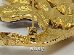 Vintage Trifari Limited Edition Peacock Large Pin Brooch Signed