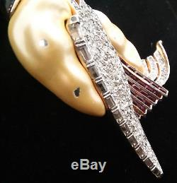 Vintage Trifari Ming Rhinestone Swan Pin Brooch 1941 David Mir Pat Pend Huge 5in