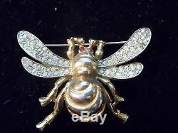 Vintage Trifari Rhinestone Bee Brooch 1942 Philippe Insect Bug Figural