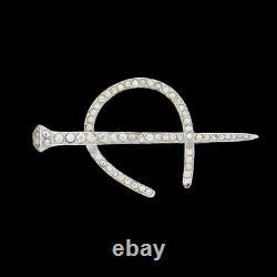 Vintage Trifari Rhinestone Horse Shoe Nail Pin Brooch 1938 / 39 RARE