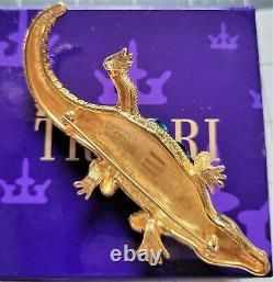 Vintage Trifari Safari 1998 Alligator Rhinestone Brooch Book Piece NEW