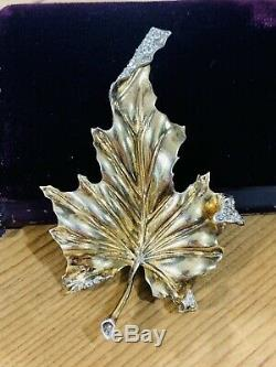 Vintage Trifari Sterling Rhinestone Leaf Fur Clip Brooch Vermeil Alfred Philippe