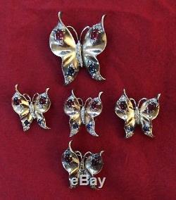Vintage Trifari Sterling Silver Butterfly Set 4 PIN BROOCH 1 Earring BOOK PIECE