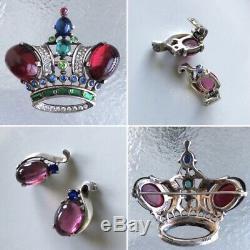 Vintage Trifari Sterling Silver Crown Brooch Pin And Earrings Set