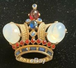 Vintage Trifari Sterling Silver Moonstone Sapphire Ruby Rhinestone Crown Brooch