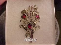 Vintage Trifari red and clear rhinestone flower pin / brooch