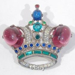 Vintage Trifari sterling silver crown rhinestone brooch Des Pat 137542 1940s