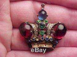 Vintage Trifari sterling silver mini crown pin / brooch