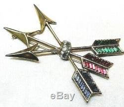 Vintage Triple Crossed Arrows Baguette Rhinestone Feathers Figural Brooch
