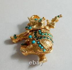 Vintage Turquoise Vendome Elephant & Rider Rhinestone Brooch