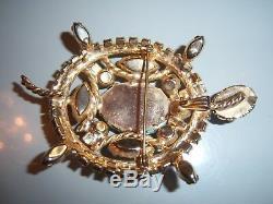 Vintage Uns Schreiner Turquoise Rhinestone Turtle Brooch Pin Pendant