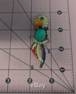 Vintage Unsigned JOMAZ Turquoise Cabochon Rhinestone Parrot Figural Pin Brooch