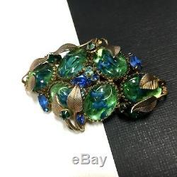 Vintage Unsigned SCHREINER Green Blue ART GLASS & Rhinestone Brooch Gold CC53t