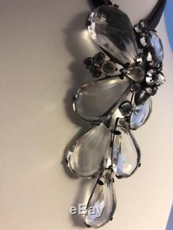 Vintage Unsigned Schreiner Lucite Rhinestone Brooch Pin Pendant Orig Chain