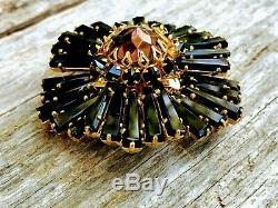 Vintage Unsigned Schreiner ruffle sunburst brooch Black Amber