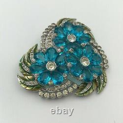 Vintage Unsigned Trifari Reja Enamel Aqua Blue Rhinestone Brooch Pin