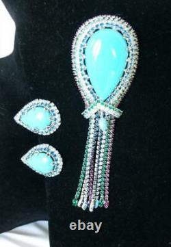 Vintage VENDOME Large Turquoise Cab & Dangling Rhinestone Brooch & Earrings Set