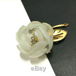 Vintage VENDOME Rhinestone & Lucite FLOWER Brooch & Clip Earring SET oo11zzxb