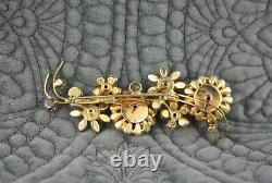 Vintage Vendome Gold Fuchsia Pink Purple Green Floral Flower brooch Pin