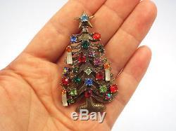 Vintage Weiss Rhinestone Christmas Tree 3 Candles & Star Brooch Pin