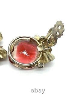 Vintage Weiss Set Brooch Earrings Rhinestone Enamel Floral Pink Tourmaline Gold