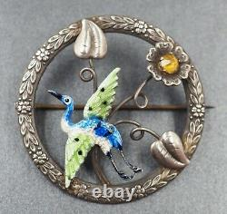 Vintage Womens Bird Brooch Enamel & Sterling Silver WBs Fine Jewellery