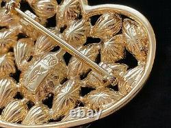 Vintage YSL Yves Saint Laurent Spectacular Rhinestone Heart Brooch