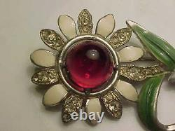 Vintage attributed Coro hand holding flower pin brooch