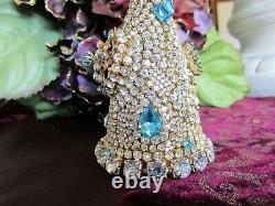 Vintage bLuE AqUA EARRINGS cLEaR CzeCh rHineStoNe BROOCH JEWELRY CHRISTMAS TREE