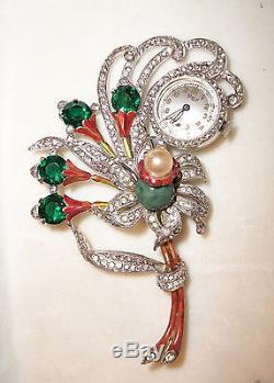 Vintage brooch art deco MASSIVE pave rhinestone figural watch pin enamel flower